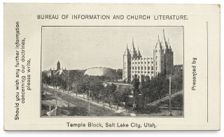 Bureau of Information and Church Literature [Mormons; Salt Lake City]. Church of Latter Day Saints