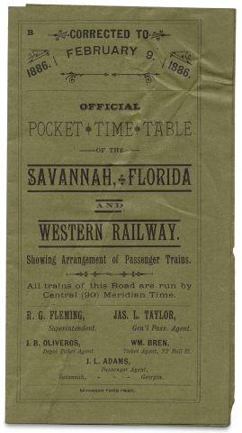 Official Pocket Time Table of the Savannah, Florida and Western Railway. Showing Arrangement of...