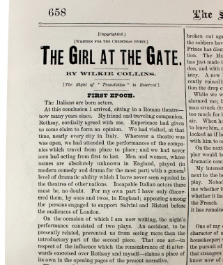 """[Wilkie Collins:] """"The Girl at the Gate (Written for the Christmas Spirit)"""" [published within:] The Spirit of the Times."""
