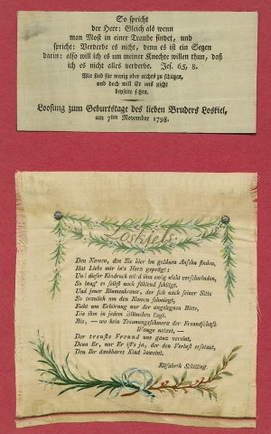 [1798 and ca. 1814, Two Moravian Printed and Needlework Silk Ribbons Honoring and Mourning George...