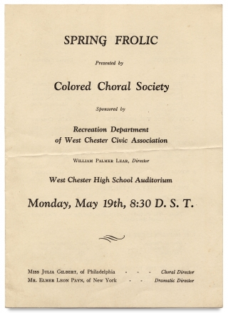 Spring Frolic presented by Colored Choral Society ... West Chester High School Auditorium…...