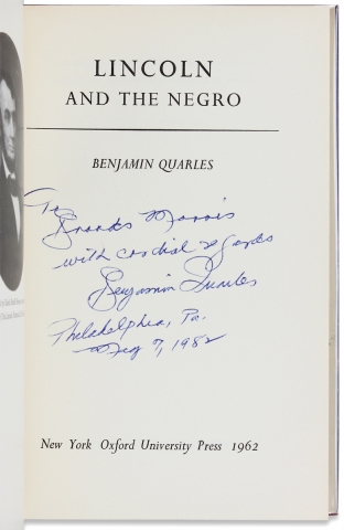 Lincoln and the Negro. [Inscribed by Author]