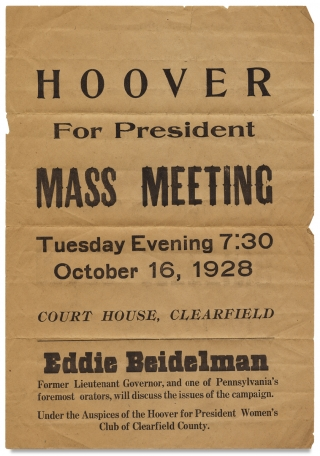 Hoover for President. Mass Meeting… [opening lines of Pennsylvania broadside]. Herbert Hoover
