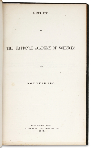 [Ironclad Ships:] Report of the National Academy of Sciences for the Year 1863. President National Academy of Sciences A D. Bache, 1806–1867.