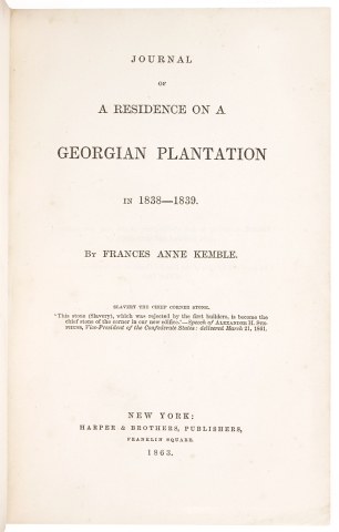 Journal of a Residence on a Georgian Plantation in 1838-1839.