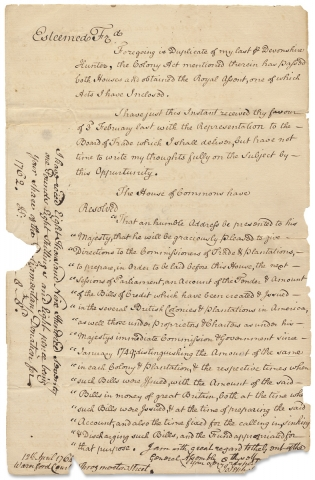 [1764 LS from Joseph Sherwood to Governor of Rhode Island Plantation Colony Stephen Hopkins].