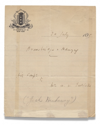 Autograph of Bracebridge Hemyng, Dime Novelist, Speculative Fiction Author]. Bracebridge Hemyng,...