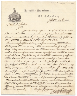 [1861 Civil War LS from Vermont Governor Erastus Fairbanks concerning the 4th and 5th Vermont Regiments, to Assistant Secretary of War in charge of Railroad and Telegraph Lines, Col. Thomas A. Scott]. Erastus Fairbanks, 1792–1864, 1823–1881 Thomas Alexander Scott, Col. T. A. Scott.