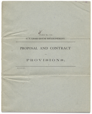 Form No. 102. U.S. Light-House Establishment. Proposal and Contract for Provisions. [Lighthouse...