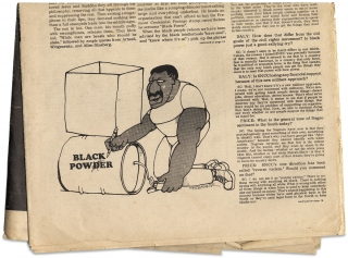 "Ishmael Reed's ""Black Power in the Ghetto: two flags, a stepladder, and a megaphone"" [within The East Village Other]."