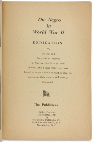 The Negro in World War II, Vol. I, A Record of Achievement [cover title].