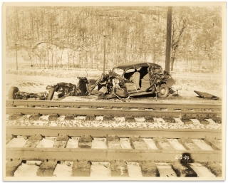 [Twenty-one C.1940 Police Photographs Documenting Automobile Accidents in New York State].