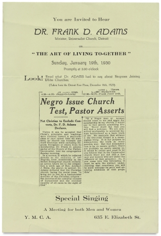 Racial Harmony in 1930:] You are Invited to Hear Dr. Frank D. Adams Minister, Universalist...