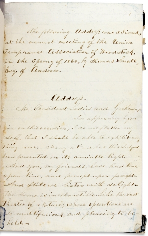 [1860 Maine Temperance Manuscript Address mentioning Slavery and discussing the Role of Women in Temperance Associations].