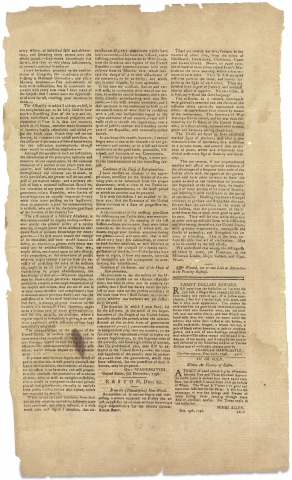 [1796 George Washington Final State of the Union Address published in Easton, Maryland's Maryland Herald, and Eastern Shore Intelligencer].
