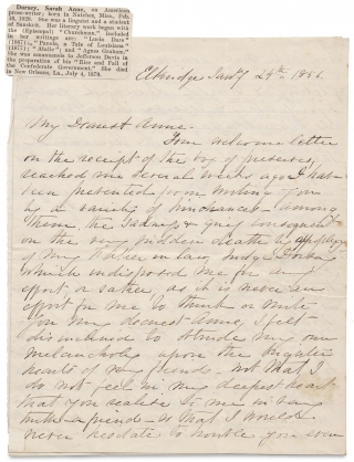1856 ALS by Sarah Anne Ellis Dorsey, Southern Writer. Likely written to her former teacher, the...