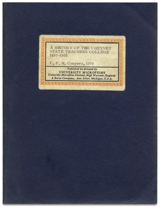 A History Of The Cheyney State Teachers College, 1837-1951. [Dissertation, New York University,...