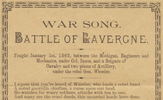 Civil War Michigan:] War Song. Battle of Lavergne. one of the boys&rdquo
