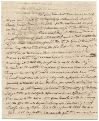 [Handwritten Autobiographical Memoir of 18th Century Beginnings of Methodism in Dorchester on the Eastern Shore of Maryland].