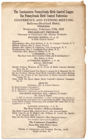 The Southeastern Pennsylvania Birth Control League, the Pennsylvania Birth Control Federation Conference and Evening Meeting…1929. [broadside and related brochure]