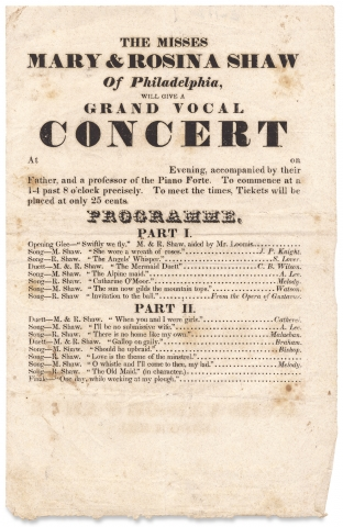 The Misses Mary & Rosina Shaw of Philadelphia, will give a Grand Vocal Concert [opening lines of...