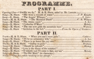 The Misses Mary & Rosina Shaw of Philadelphia, will give a Grand Vocal Concert [opening lines of broadside].