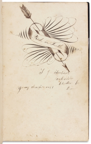 [Autograph Album kept in 1858 by Marshall Chambers at Lancaster County Normal School in Pennsylvania].