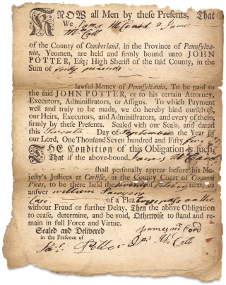 1755 Carlisle, Cumberland County Printed and Manuscript Bond between James McCord and James...
