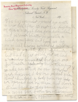 [1898 ALS on the Battle of San Juan Hill in Cuba during the Spanish American War and mentioning Theodore Roosevelt's Troops by a Soldier-Participant in the 71st Regiment, New York Volunteers].