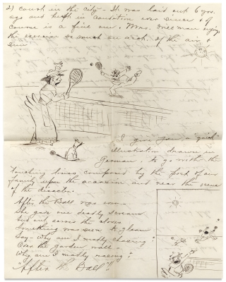 [1892 and 1893, Two Humorously Illustrated Letters by Frank and Etta Willman of Salem, Oregon, One Depicting a Woman Tennis Player].