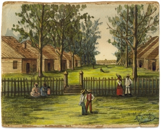 19th Century American Prison Art, possibly of African-American Slaves or Sharecroppers, by an...