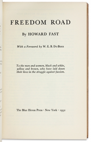 Freedom Road. [Inscribed by the Author; W.E.B. Du Bois Foreword]
