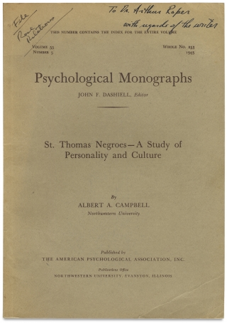 St. Thomas Negroes — A Study of Personality and Culture. [Psychological Monographs, Vol. 55,...