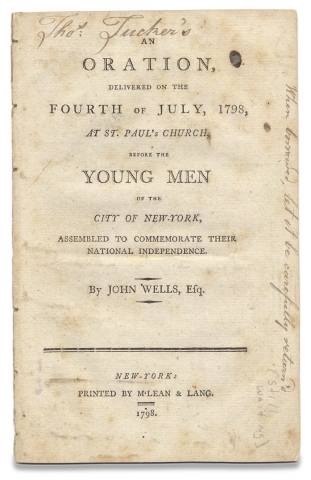 An Oration, delivered on the Fourth of July, 1798, at St. Paul's Church, before the Young Men...