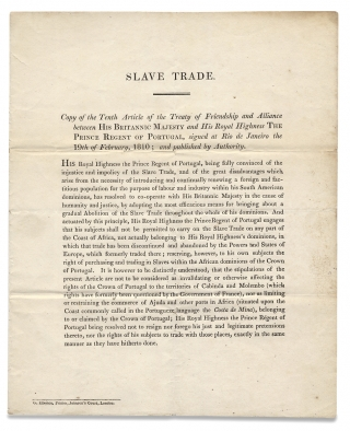 Slave Trade. Copy of the Tenth Article of the Treaty of Friendship and Alliance between His...