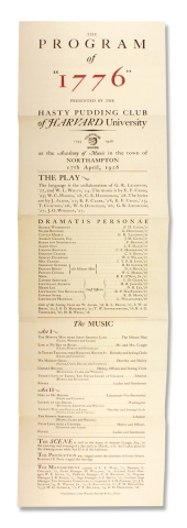 "The Program of ""1776"" presented by the Hasty Pudding Club of Harvard University [opening..."