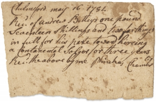 "[C.1781–1782 Receipt for the hiring a ""Contanental Solger"", i.e., Continental Soldier, issued to Andrew Betteys of Chelmsford, Massachusetts]."