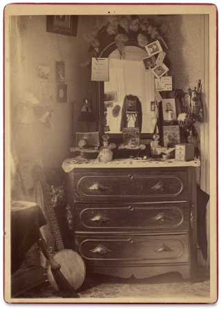 [C. 1880s Cabinet Card Photograph of a Woman's Bedroom Dresser, Possibly taken by a Woman Amateur Photographer].