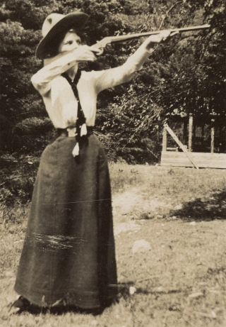 Five Photographs Showing Women Rifle Shooting and Camping in the Country]. Unkwn