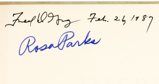 "[Signed by Rosa Parks et al:] ""Rosa Parks Wouldn't Budge"" within American Heritage, February 1972."