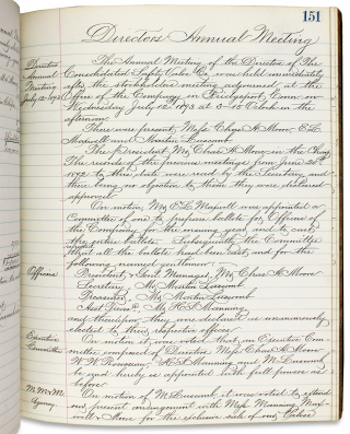 [1879–1910, Directors' and Shareholders' Minute Book for The Consolidated Safety Valve Company of Hartford, Connecticut].