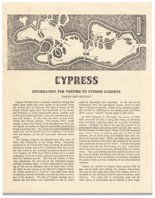Cypress Gardens Plantation Spirituals Saturday and Sunday Afternoons [opening lines of South Carolina broadside].