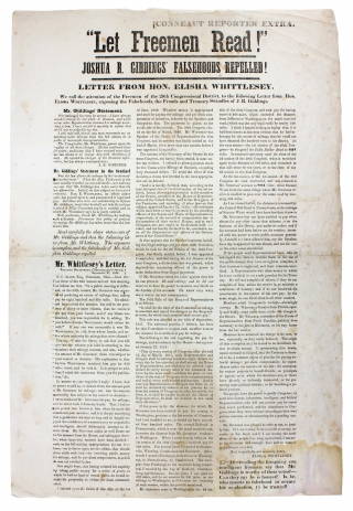 """Let Freemen Read!"" Joshua R. Giddings' Falsehoods Repelled! [opening lines of broadside..."