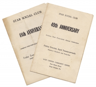 1944–1945, Two Anniversary Dinner Programs of the African American Star Social Club of West...