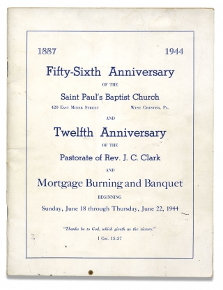 1887-1944 Fifty-Sixth Anniversary of the Saint Paul's Baptist Church…West Chester, Pa. and...