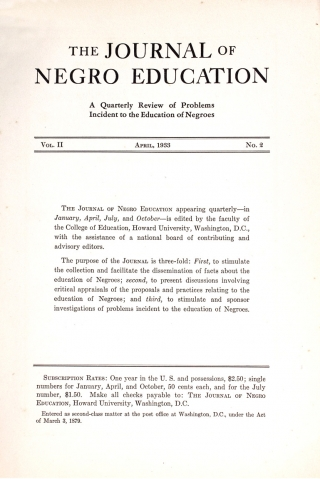 Journal of Negro Education, A Quarterly Review of Problems Incident to the Education of Negroes, 48 Numbers, 1932–1950.