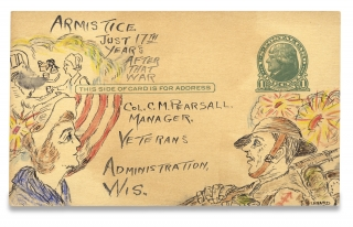 [PTSD by Postcard? Disabled Veteran and Cachet Designer Leonard Borkowski's Hand-Illustrated Postcards, showing Soldiers and Nurses at the Veterans Administration Soldier's Home in Milwaukee, Wisconsin].