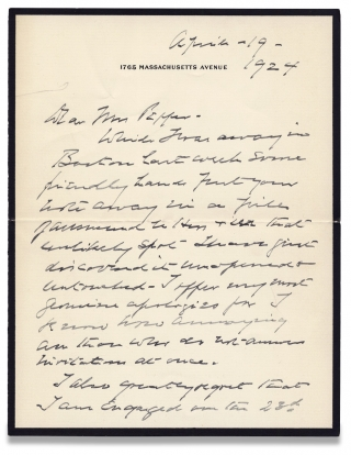 1924 Autograph Letter Signed by Henry Cabot Lodge, Republican senator and Massachusetts...
