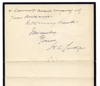 1924 Autograph Letter Signed by Henry Cabot Lodge, Republican senator and Massachusetts Historian.