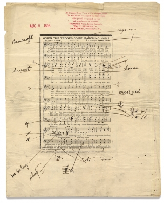 """When the Troops Come Marching Home"" and ""Help Me Be True."" [1898 Publisher's Music..."